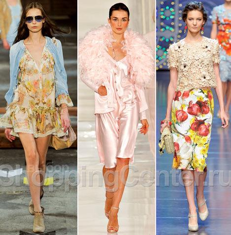 На фото: одежда в романтическом стиле из модных коллекций Just Cavalli, Ralph Lauren, Dolce & Gabbana