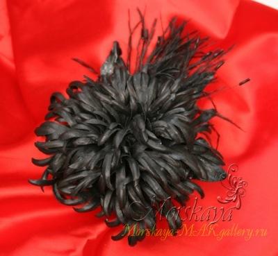 Материалы: натуральная итальянская кожа, страусиные перья, чешский бисер.