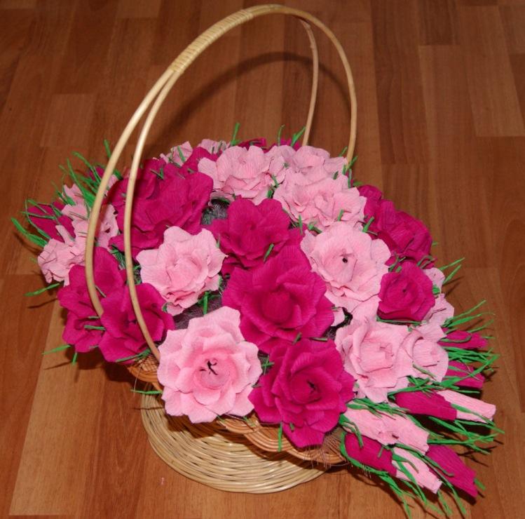 Цветы в корзинке из гофрированной бумаги с конфетами