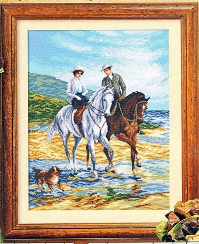 Вышивка лошади на прогулке