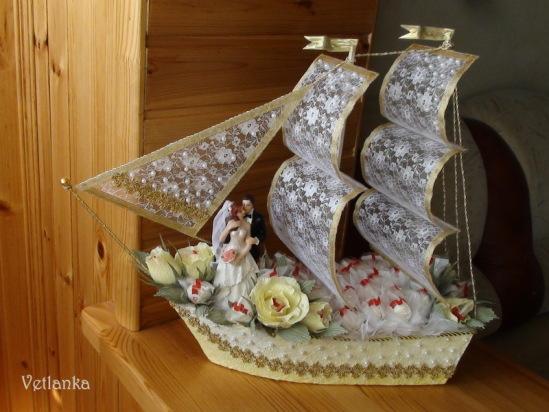 Корабль из денег на свадьбу